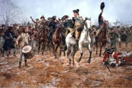 General George Washington rallying his troops in The Battle of Princeton  by Don Troiani  All Rights Reserved, Bridgeman Images